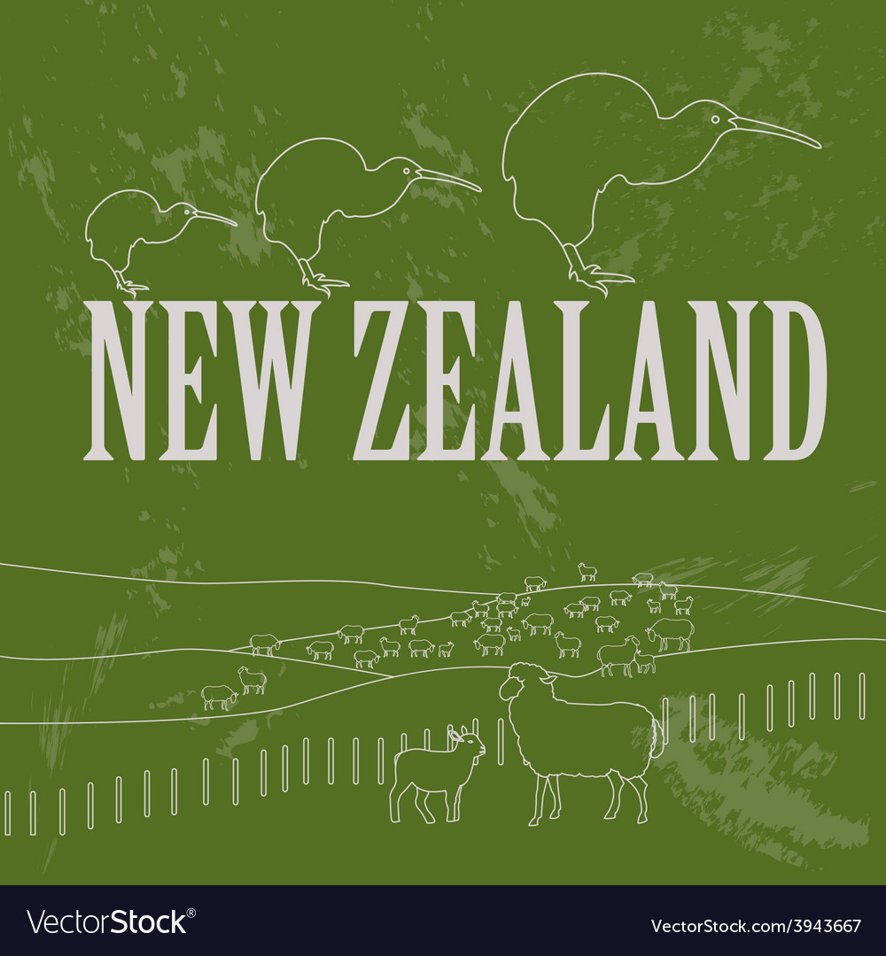 New zealand landmarks retro styled image vector | Price: 1 Credit (USD $1)