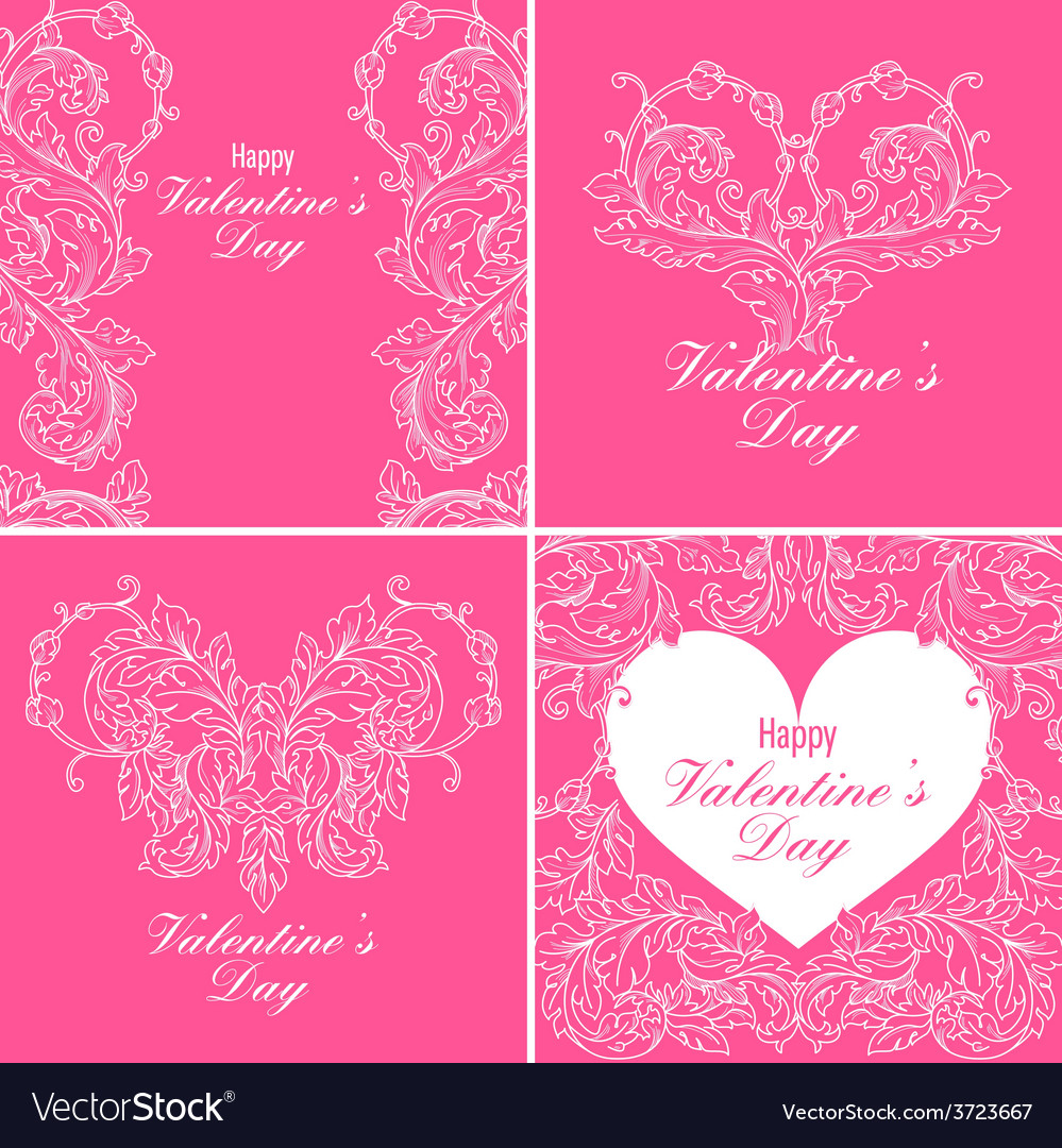 Set of valentines day greeting cards vector   Price: 1 Credit (USD $1)