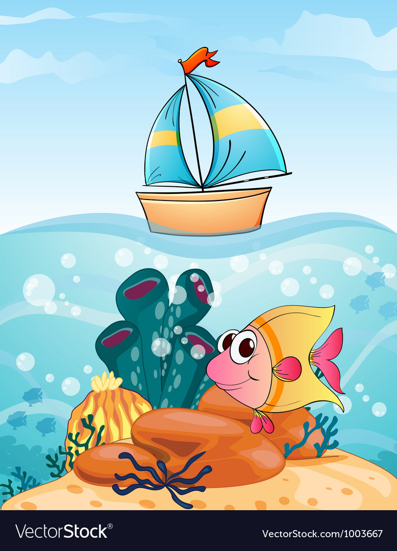 Ship and fish vector | Price: 3 Credit (USD $3)