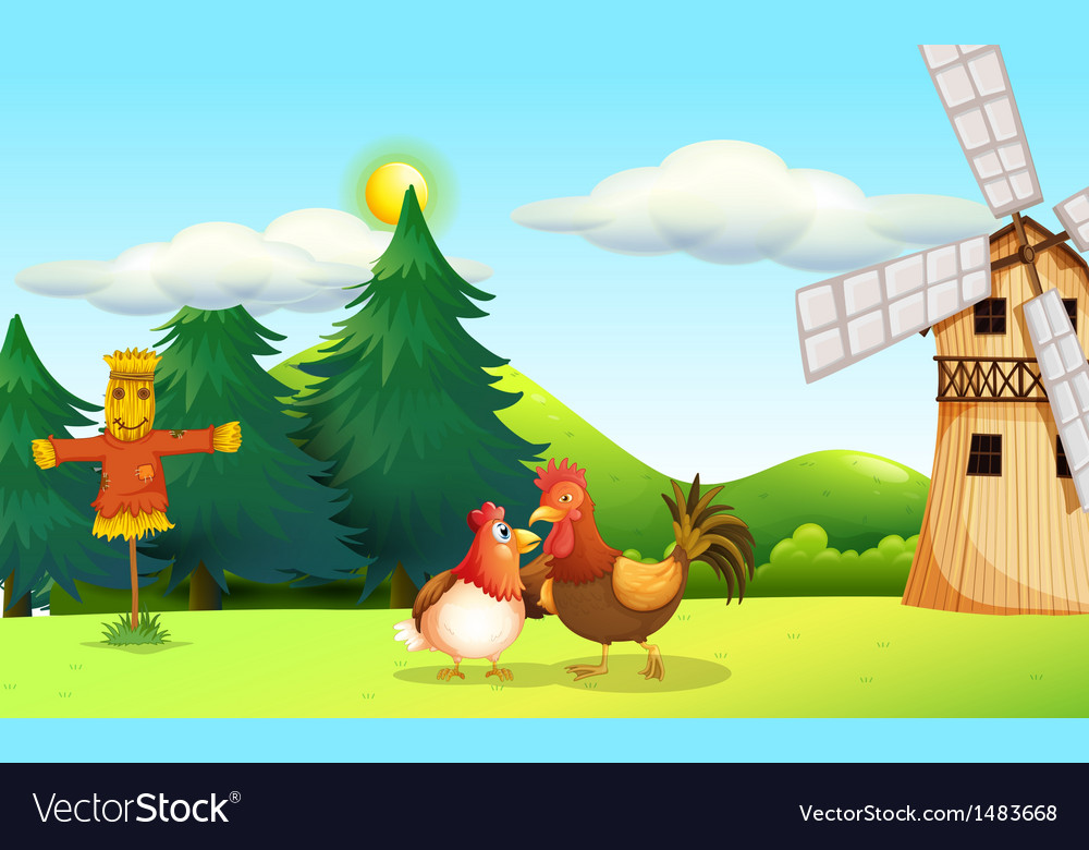 A hen and a rooster at the farm vector | Price: 1 Credit (USD $1)