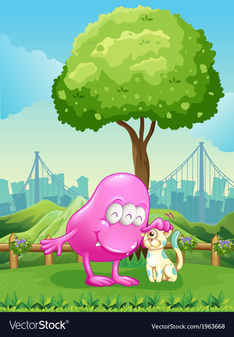 A pink monster and a monster cat near the tree vector | Price: 3 Credit (USD $3)