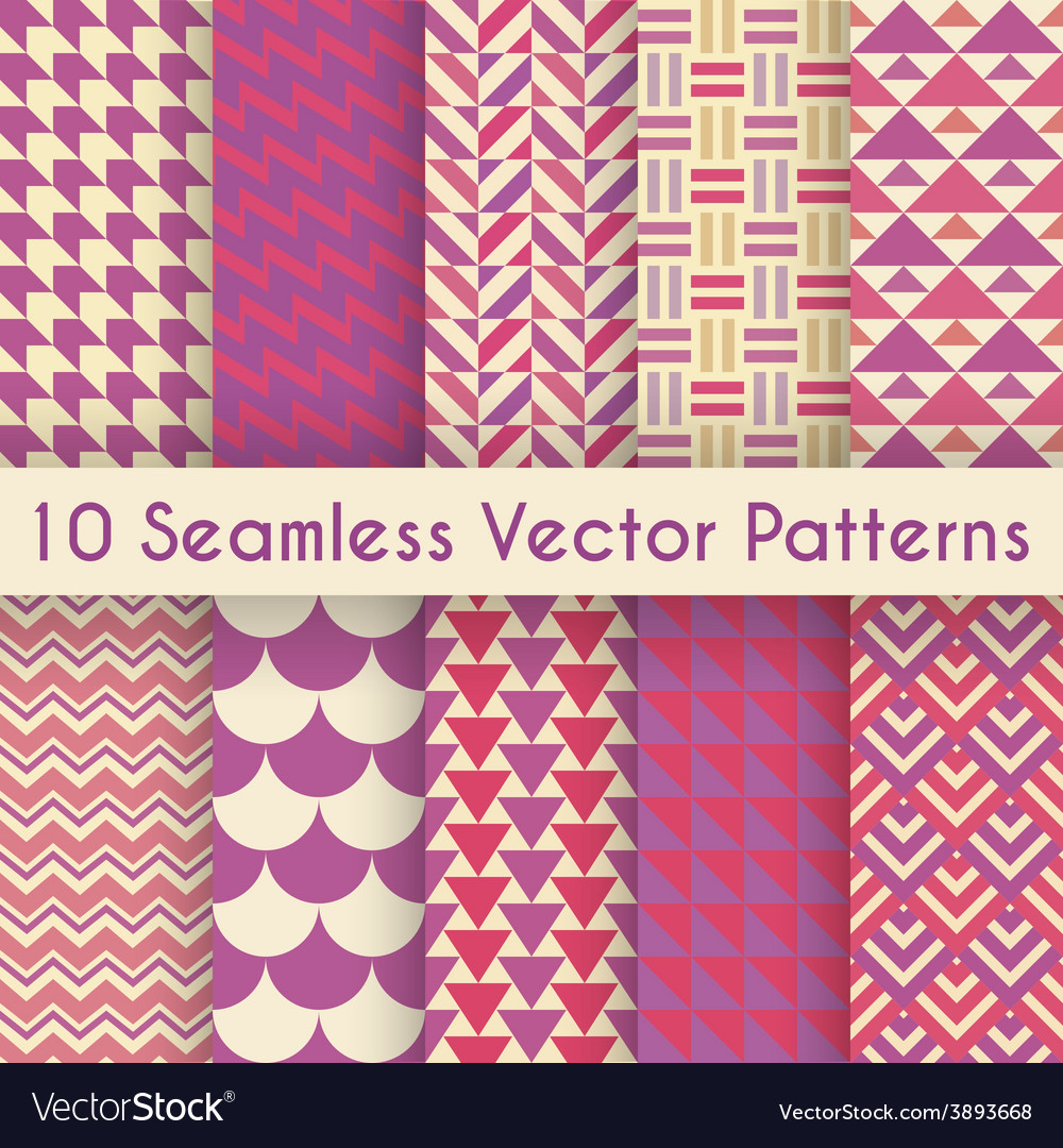 Abstract retro seamless pattern set vector | Price: 1 Credit (USD $1)