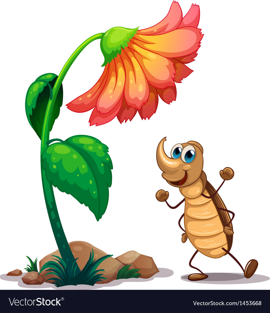 An ant dancing below the big flower vector | Price: 1 Credit (USD $1)