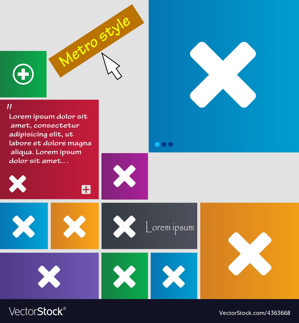 Cancel multiplication icon sign metro style vector | Price: 1 Credit (USD $1)