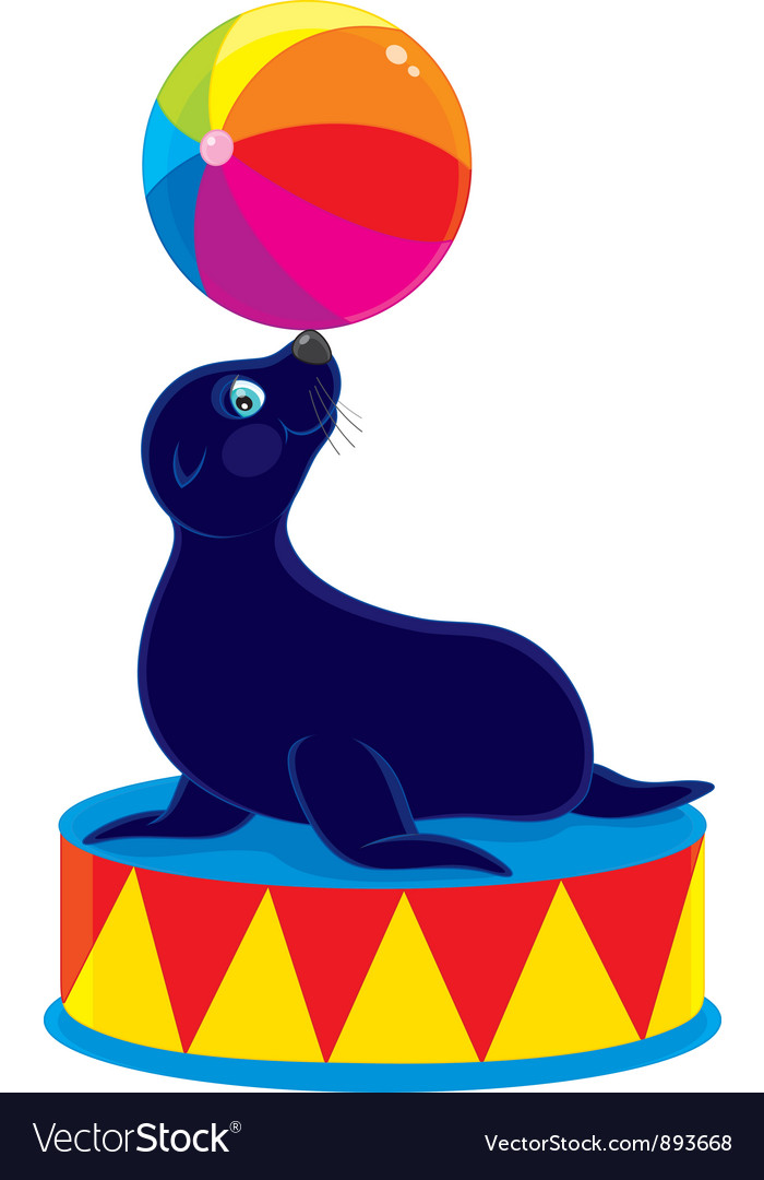 Circus sea bear vector | Price: 1 Credit (USD $1)
