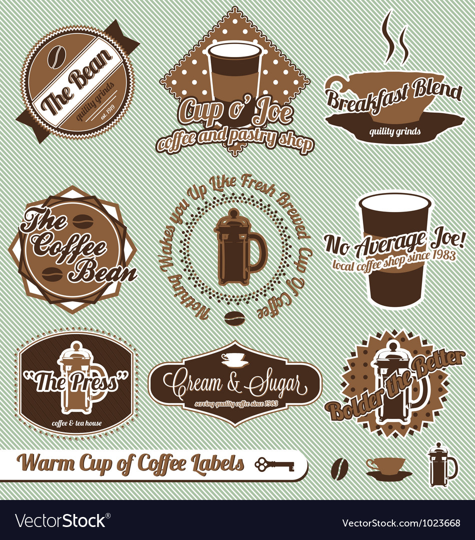 Cup of coffee labels vector | Price: 1 Credit (USD $1)