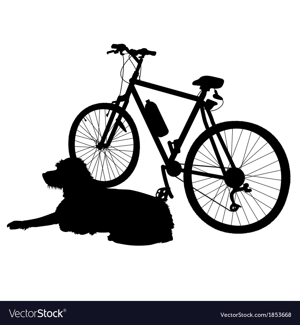 Dog and bike silhouette vector   Price: 1 Credit (USD $1)