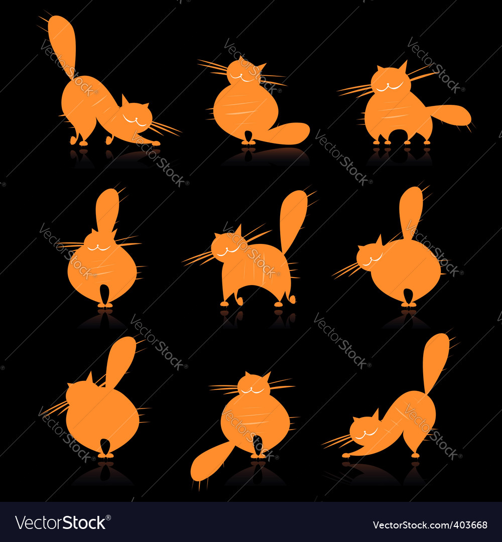 Fat cats silhouettes vector | Price: 1 Credit (USD $1)