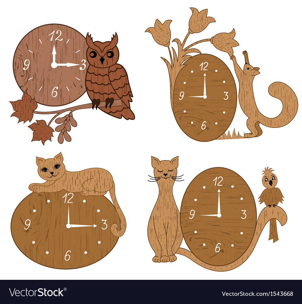 Four types of clock tree with decor vector | Price: 1 Credit (USD $1)