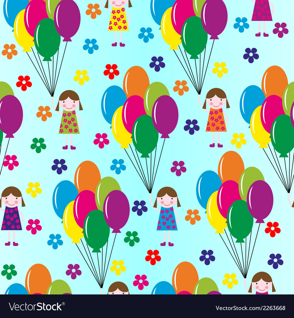 Girl and balloons vector | Price: 1 Credit (USD $1)