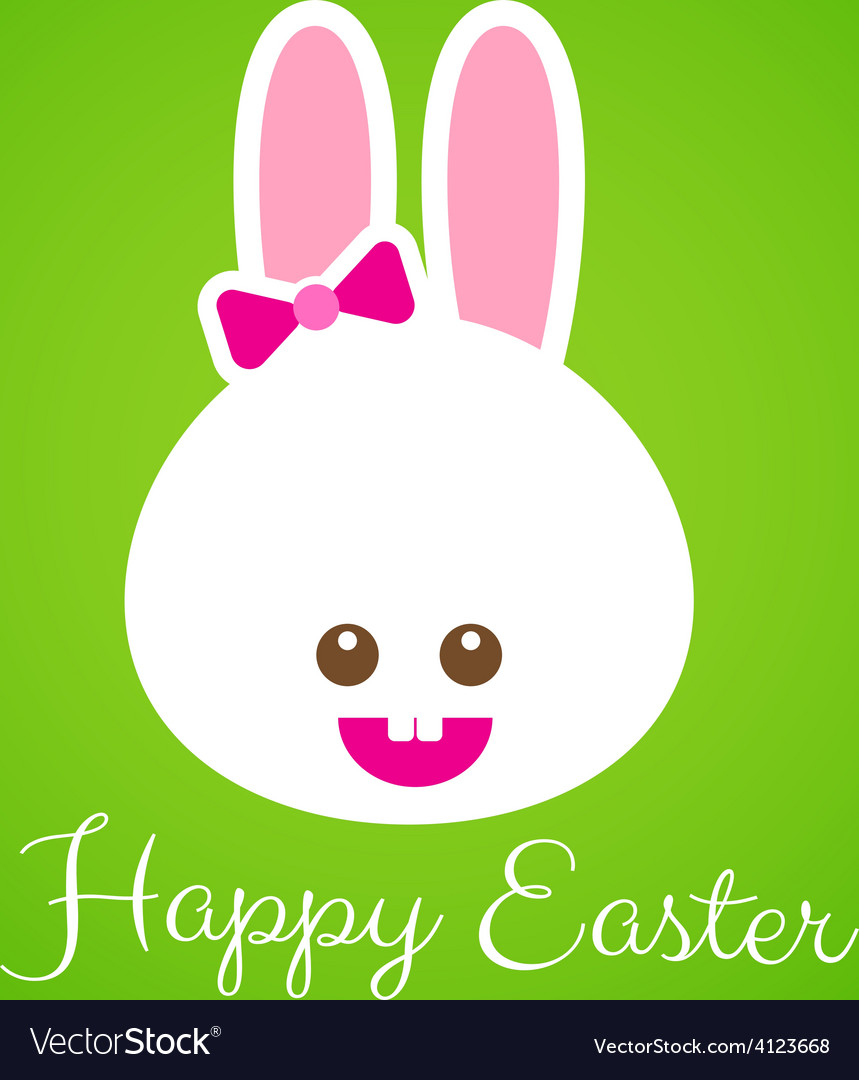 Happy easter smile rabbit bunny cartoon 001 vector | Price: 1 Credit (USD $1)