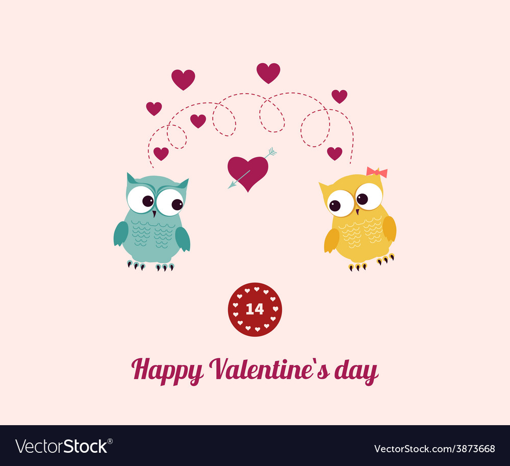 Lovers and happy owls with hearts vector | Price: 1 Credit (USD $1)