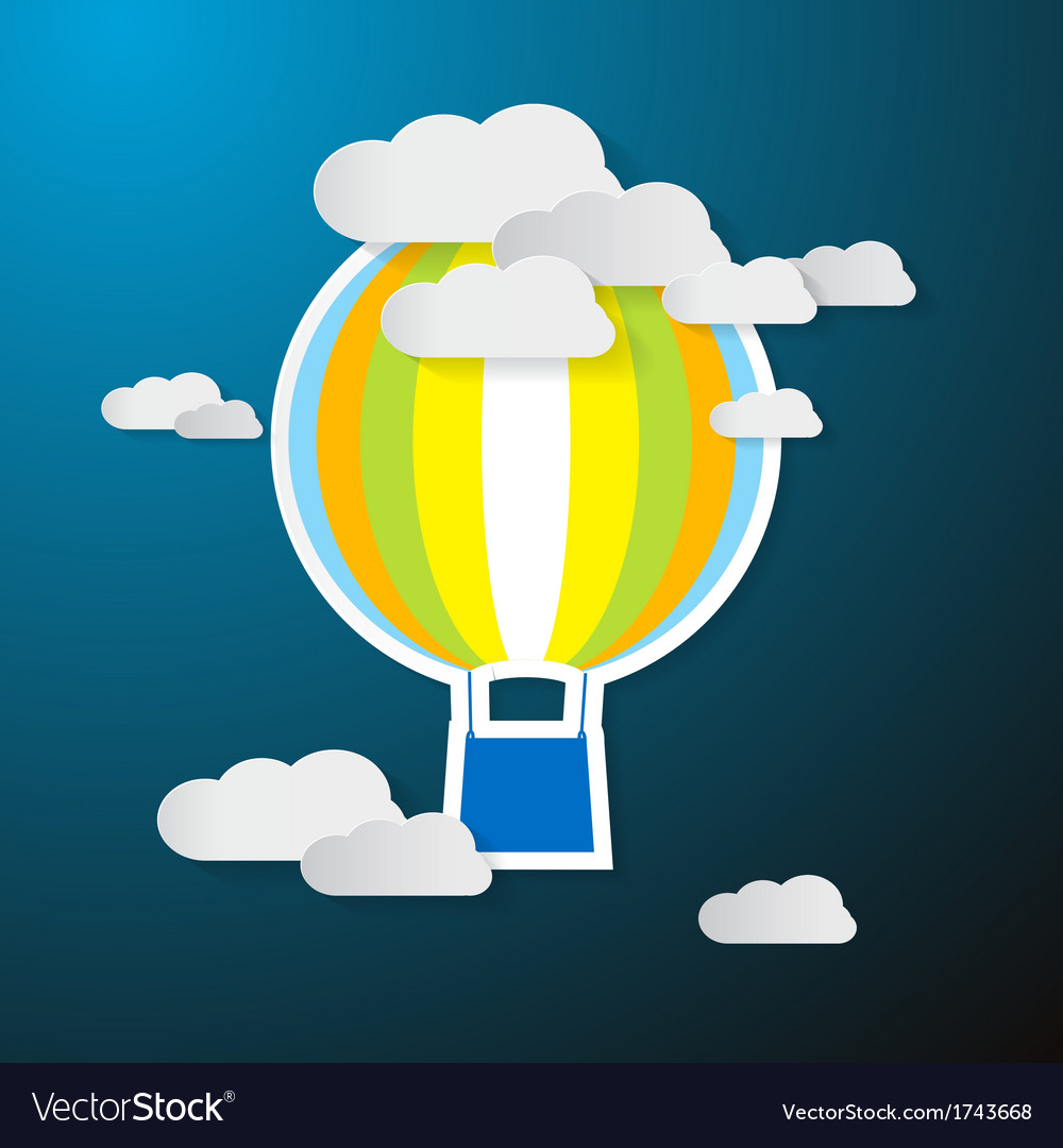 Paper hot air balloon on sky with clouds vector | Price: 1 Credit (USD $1)