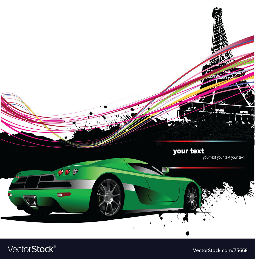 Paris with car vector | Price: 1 Credit (USD $1)
