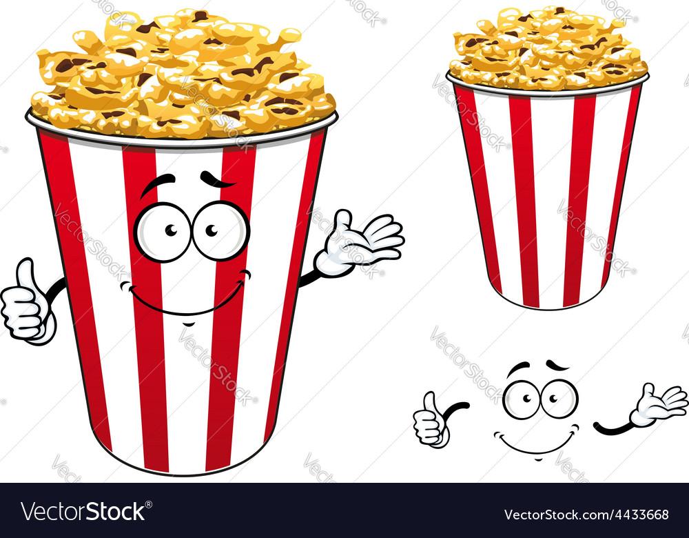 Striped red paper bucket of popcorn cartoon vector | Price: 1 Credit (USD $1)