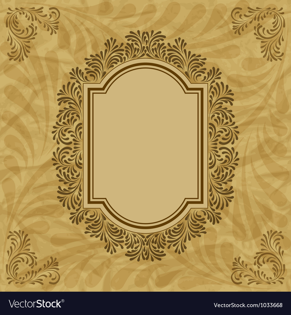 Vintage floral pattern frame vector | Price: 1 Credit (USD $1)