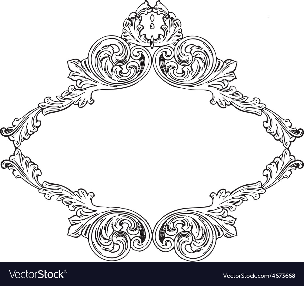 Vintage floral wood print decorative elements vector | Price: 1 Credit (USD $1)