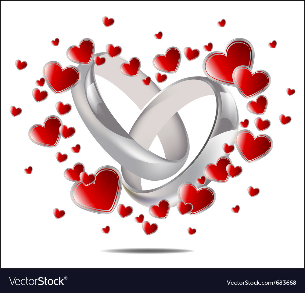 Wedding rings and hearts vector | Price: 1 Credit (USD $1)