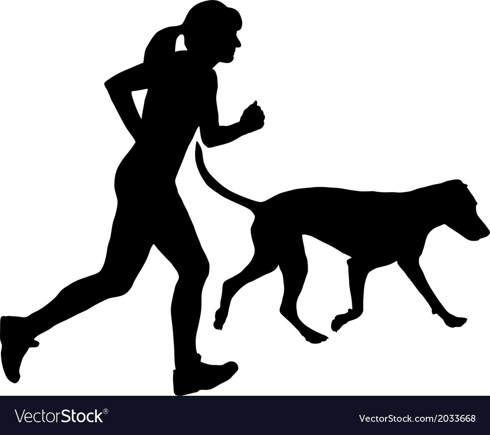Woman jogs with dog vector | Price: 1 Credit (USD $1)