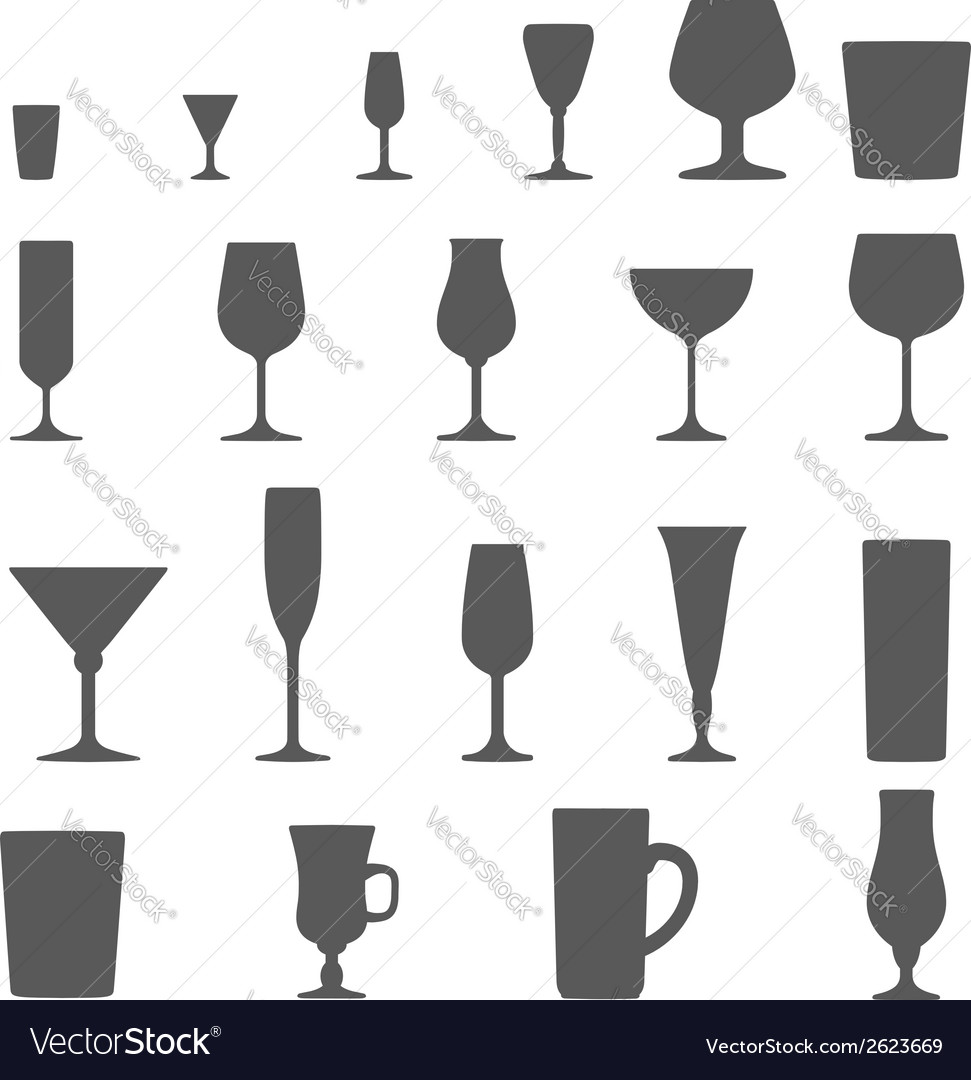Alcohol glasses silhouette set vector | Price: 1 Credit (USD $1)