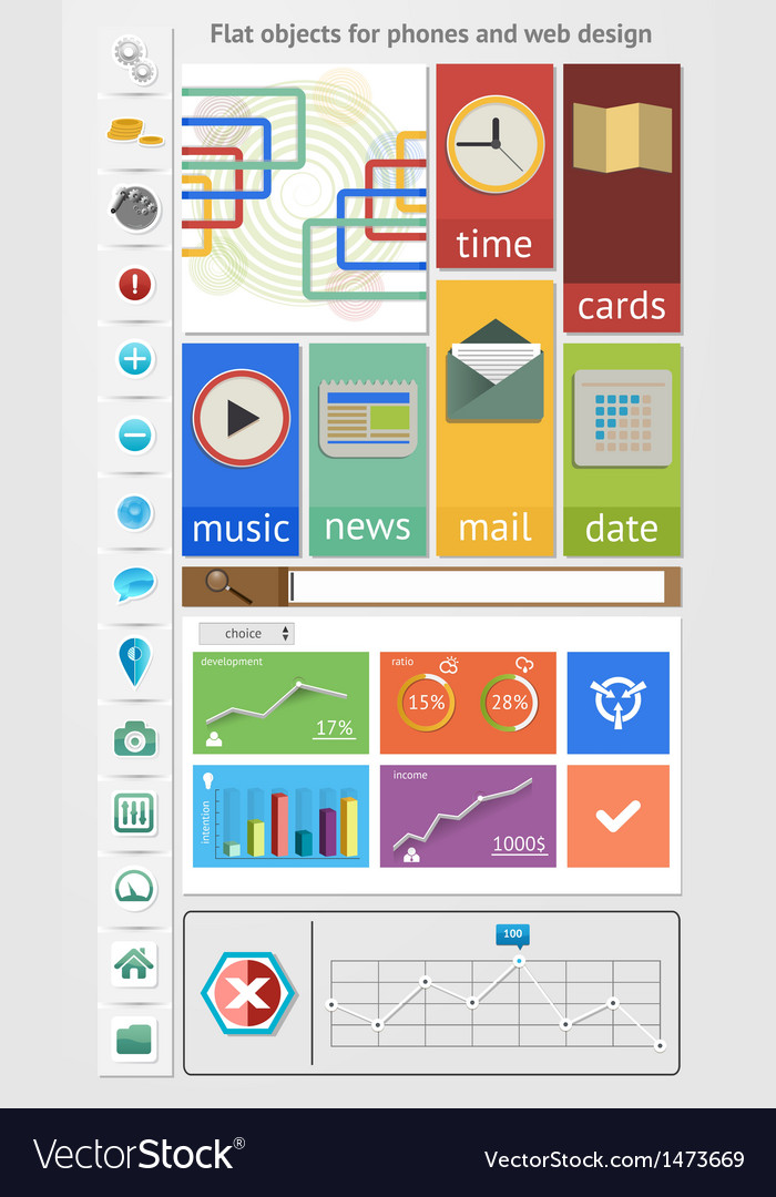 Flat objects for phones and web design vector | Price: 1 Credit (USD $1)