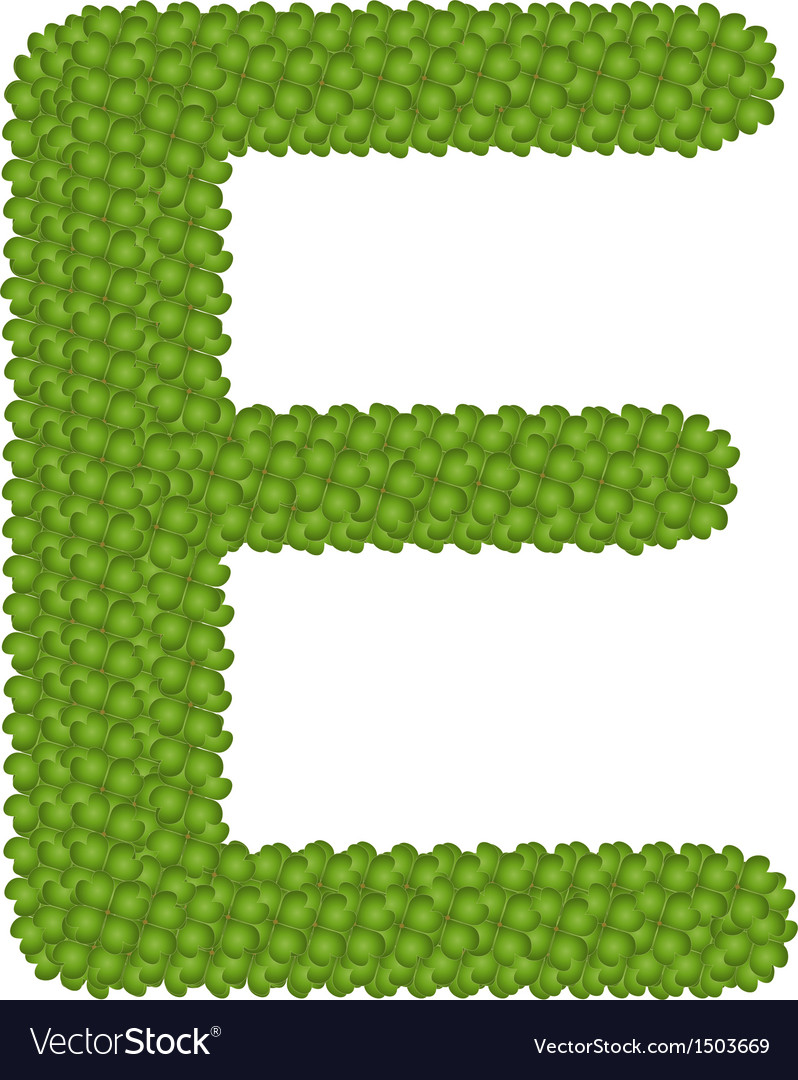 Four leaf clover of alphabet letter e vector | Price: 1 Credit (USD $1)