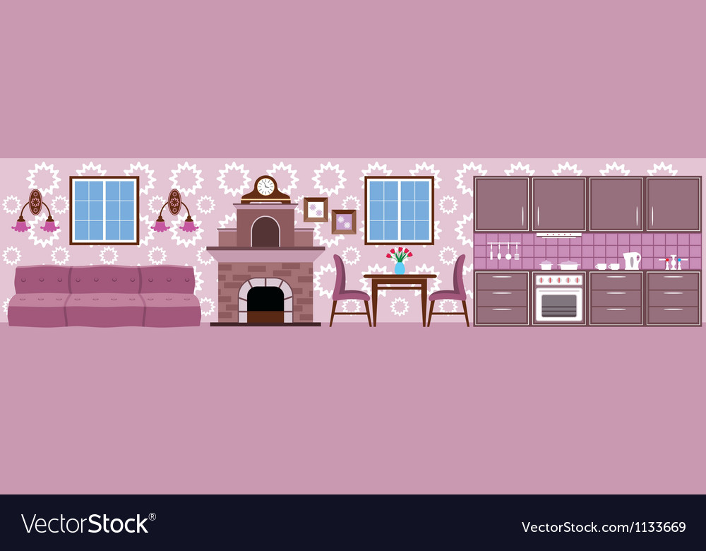 Interior of kitchen vector | Price: 1 Credit (USD $1)