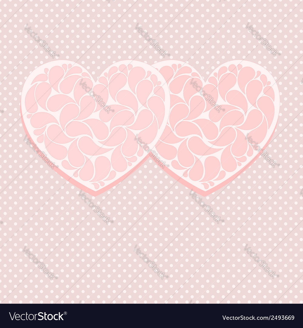 Pink valentine card template with two hearts vector   Price: 1 Credit (USD $1)