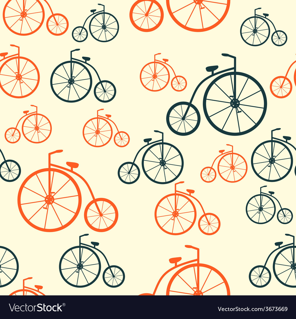Seamless pattern with retro bicycle background vector | Price: 1 Credit (USD $1)