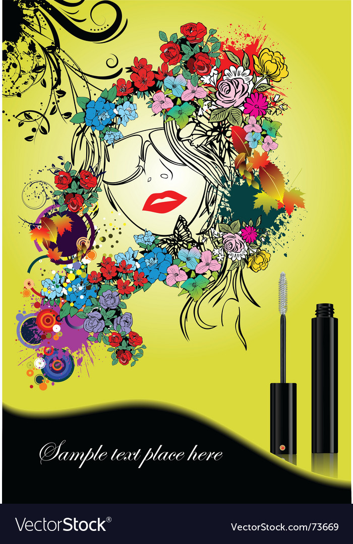Woman silhouette with mascara vector | Price: 1 Credit (USD $1)