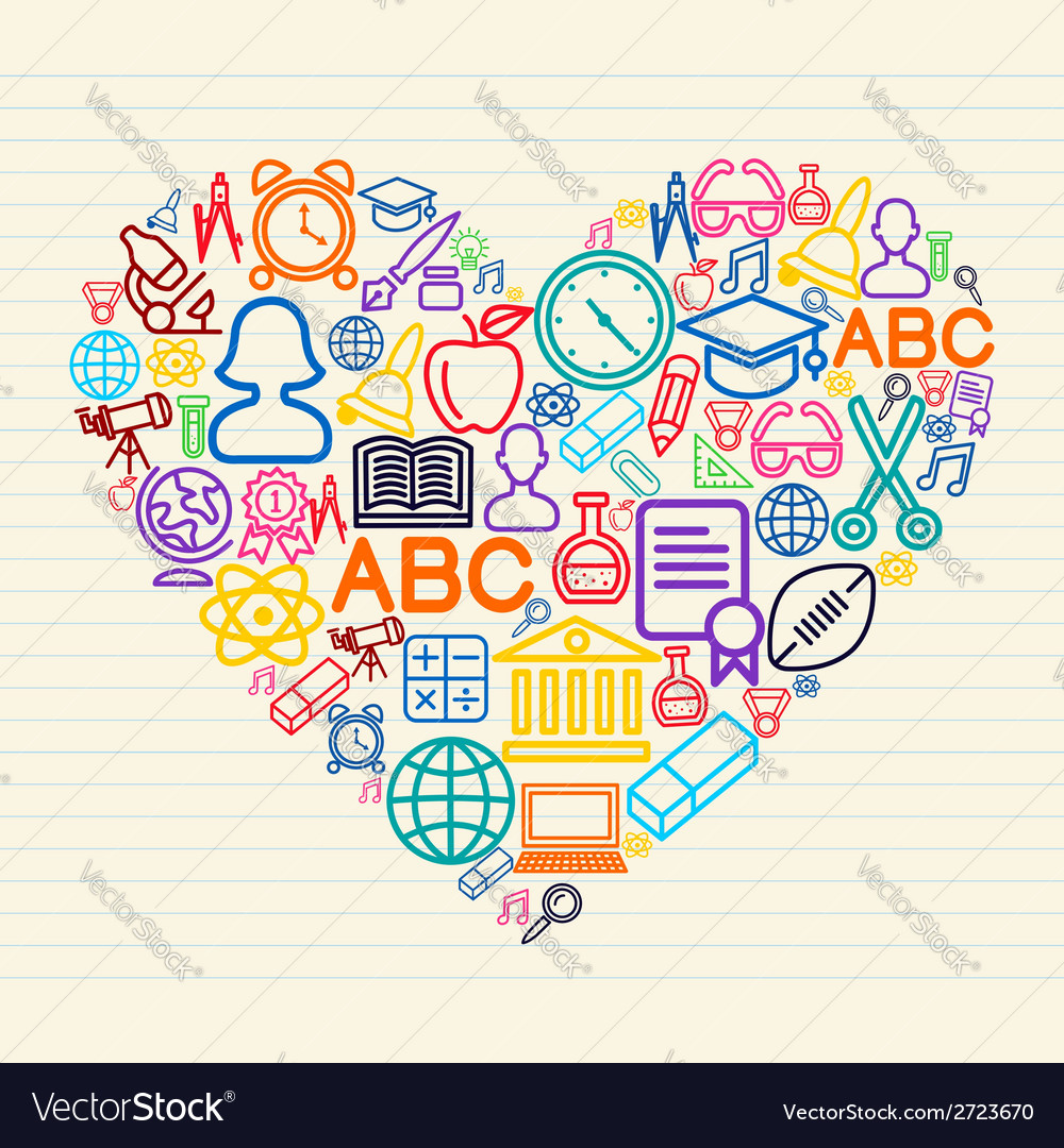 Back to school love concept vector | Price: 1 Credit (USD $1)