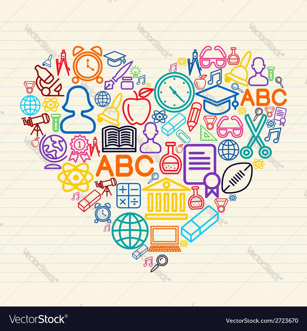 Back to school love concept vector | Price: 1 Credit (USD $1)