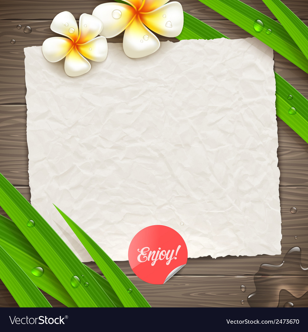 Blank vintage paper with tropical flowers vector | Price: 1 Credit (USD $1)