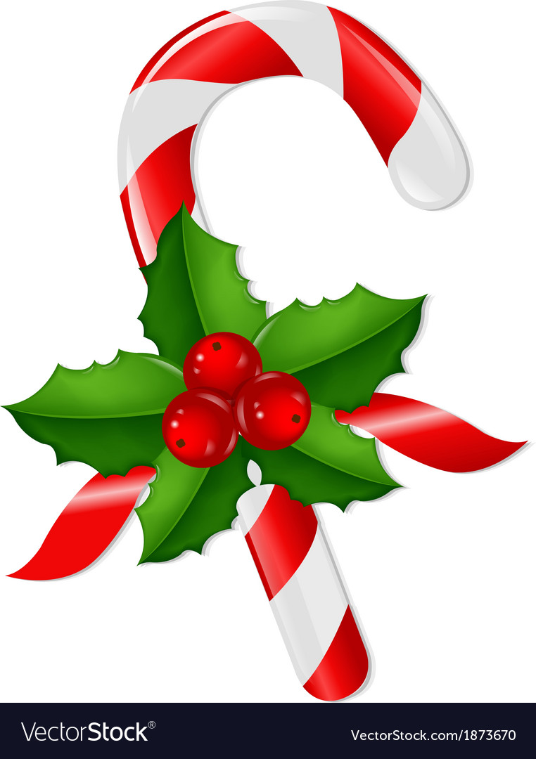 Christmas lollypop with holly berry vector | Price: 1 Credit (USD $1)