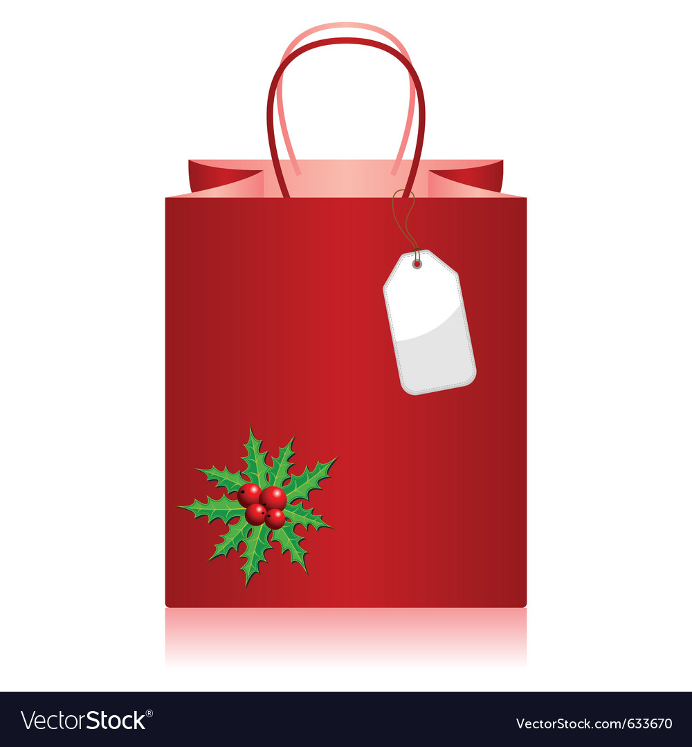 Christmas shopping bag with tag over white vector | Price: 1 Credit (USD $1)