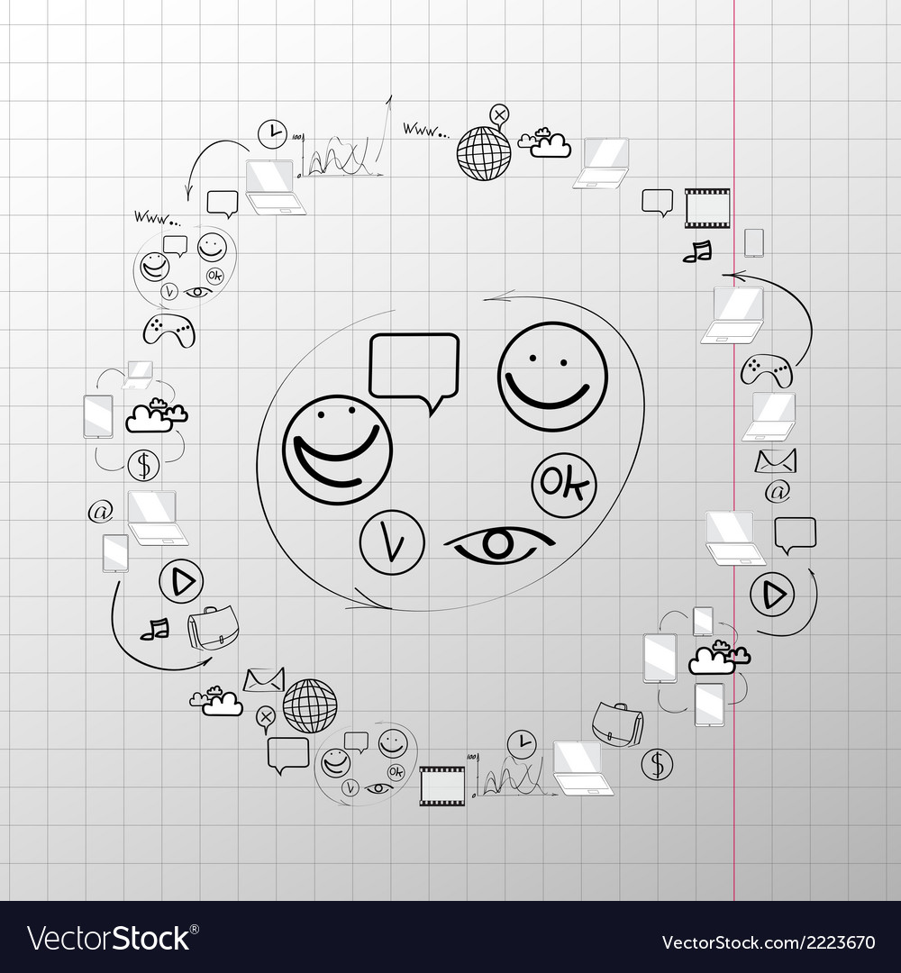 Doodle design set concept for cooperation vector | Price: 1 Credit (USD $1)