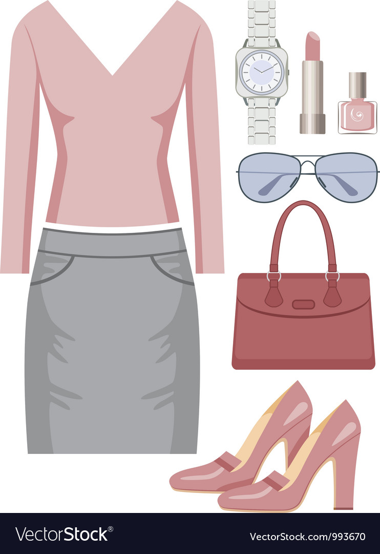 Fashion set with a skirt and a sweater vector | Price: 1 Credit (USD $1)