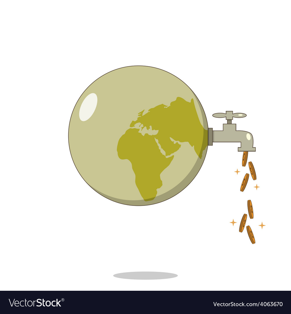 Isolated cartoon dirty planet for cash flow vector | Price: 1 Credit (USD $1)