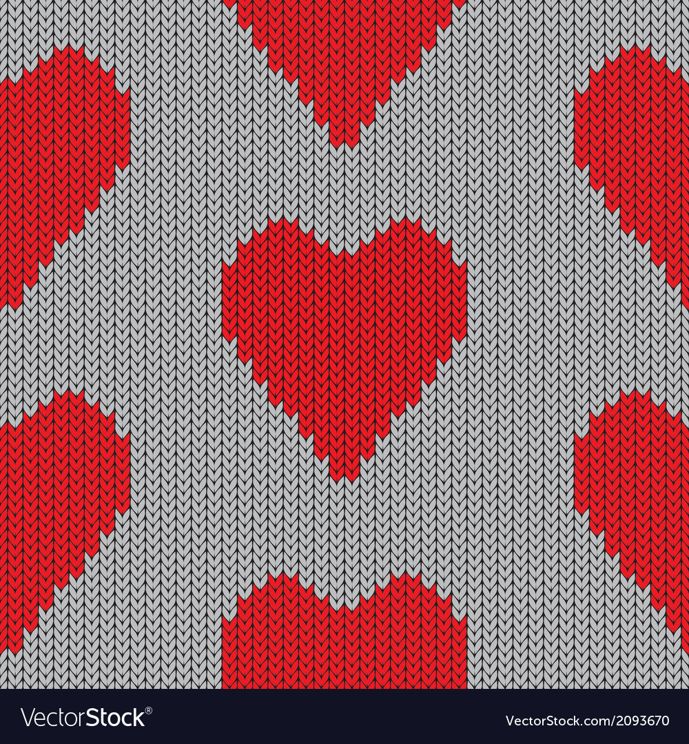 Knitted heart valentine day holiday handmade seaml vector | Price: 1 Credit (USD $1)