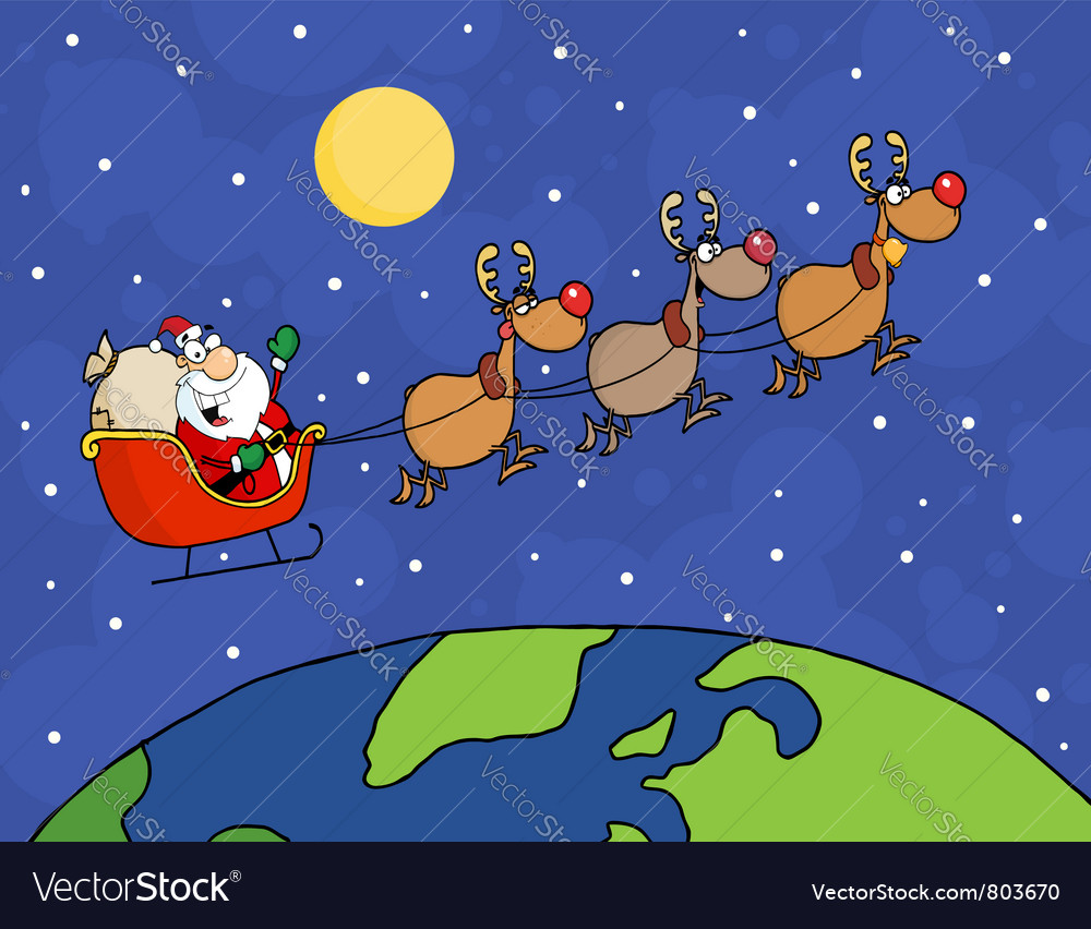 Santa waving and flying over earth vector | Price: 1 Credit (USD $1)