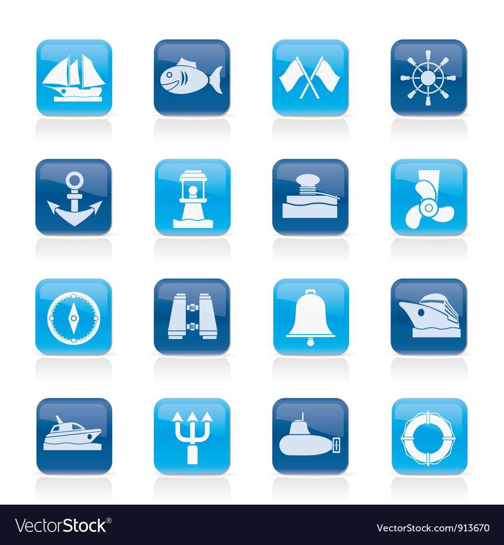 Sea and nautical icons vector | Price: 1 Credit (USD $1)