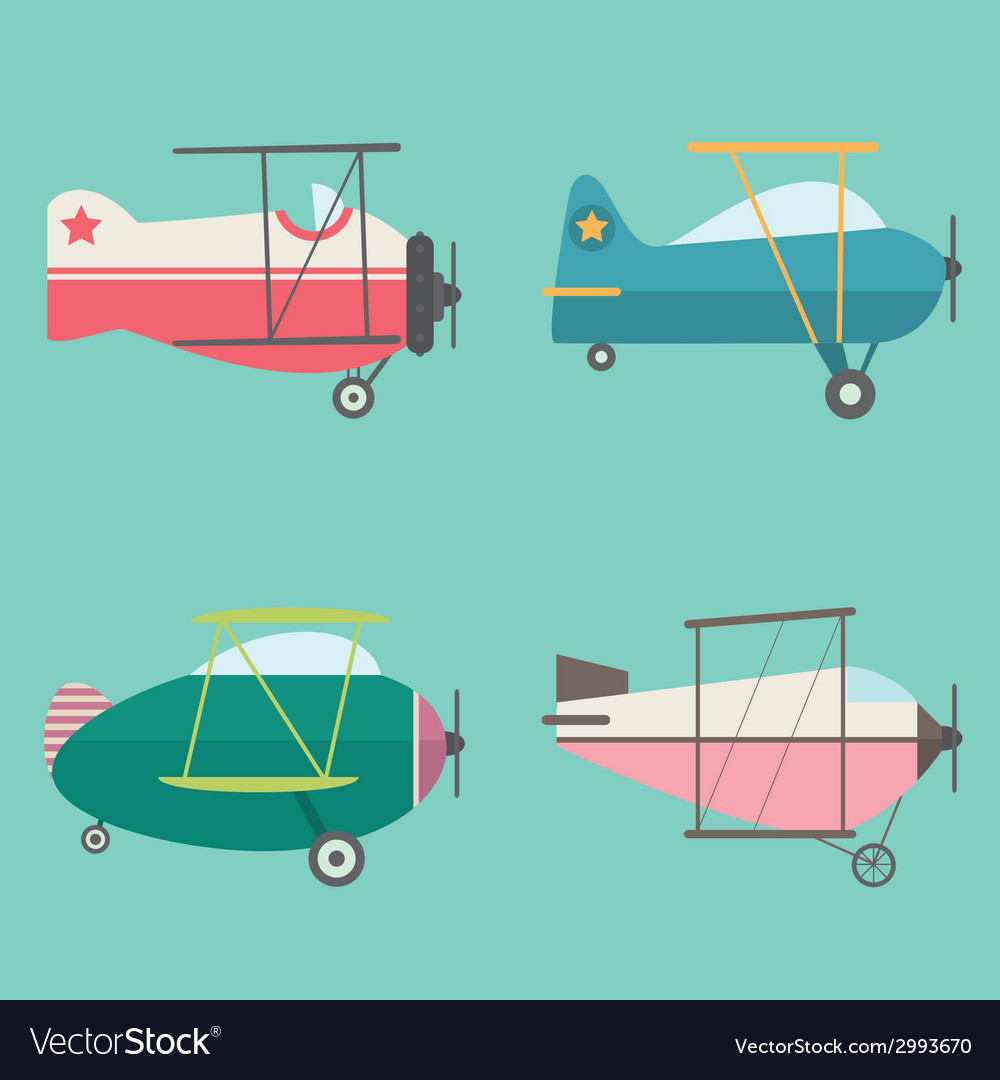 Set of retro airplanes vector | Price: 1 Credit (USD $1)