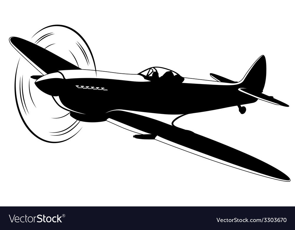 Silhouette of the old fighter airplane vector | Price: 1 Credit (USD $1)
