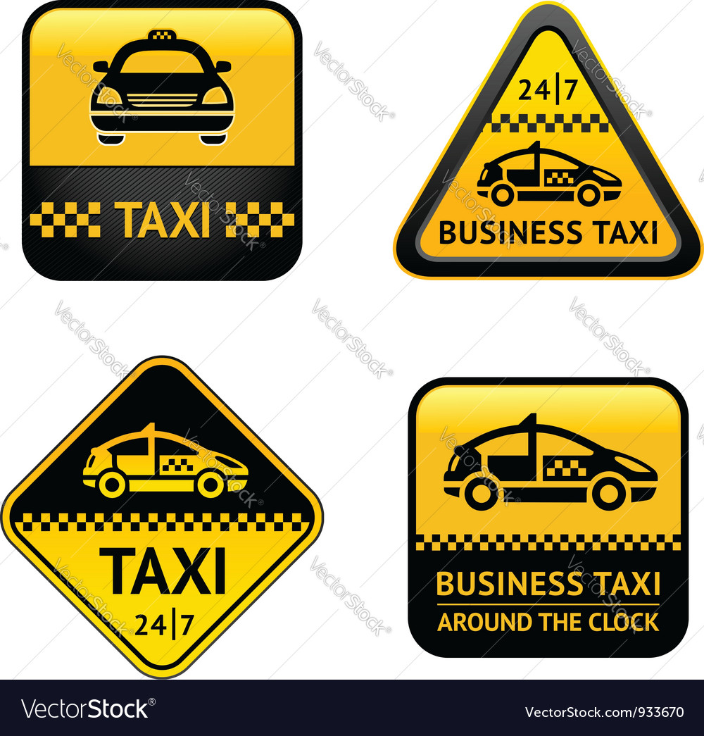 Taxi cab set labels vector | Price: 1 Credit (USD $1)