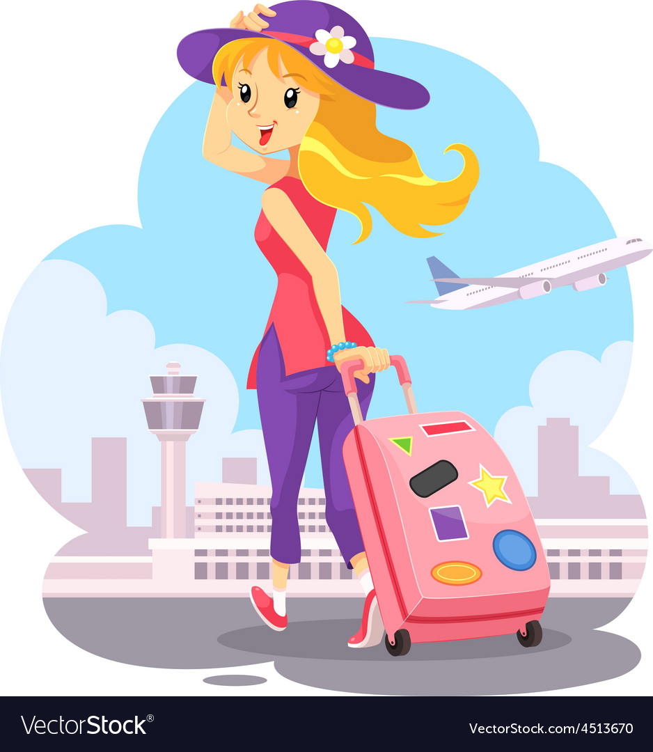 Traveling girl with pink trolley bag vector | Price: 1 Credit (USD $1)