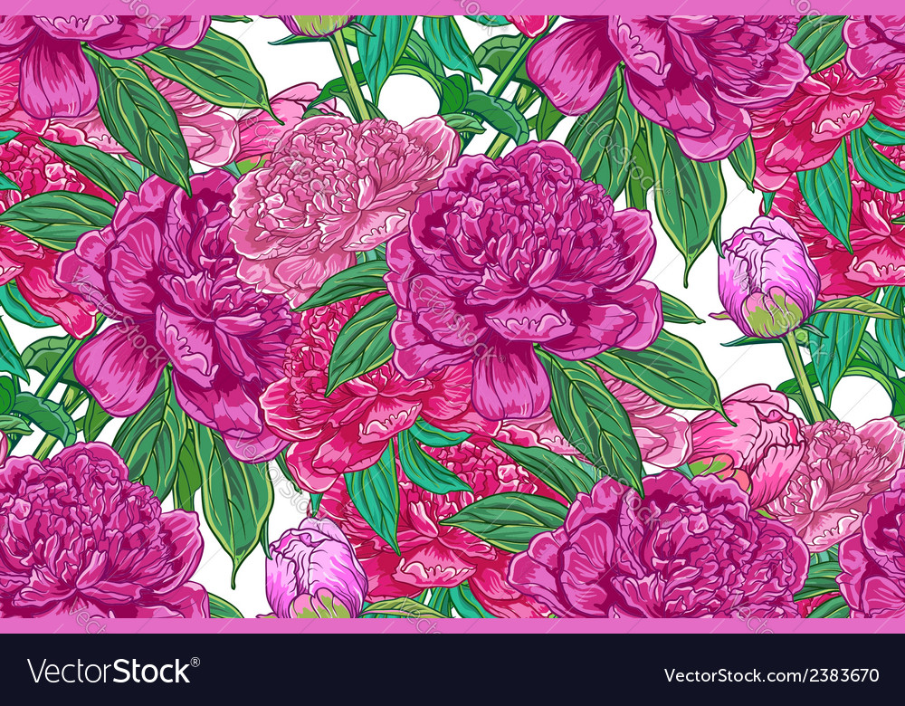 Vintage floral seamless pattern with peonies vector   Price: 1 Credit (USD $1)