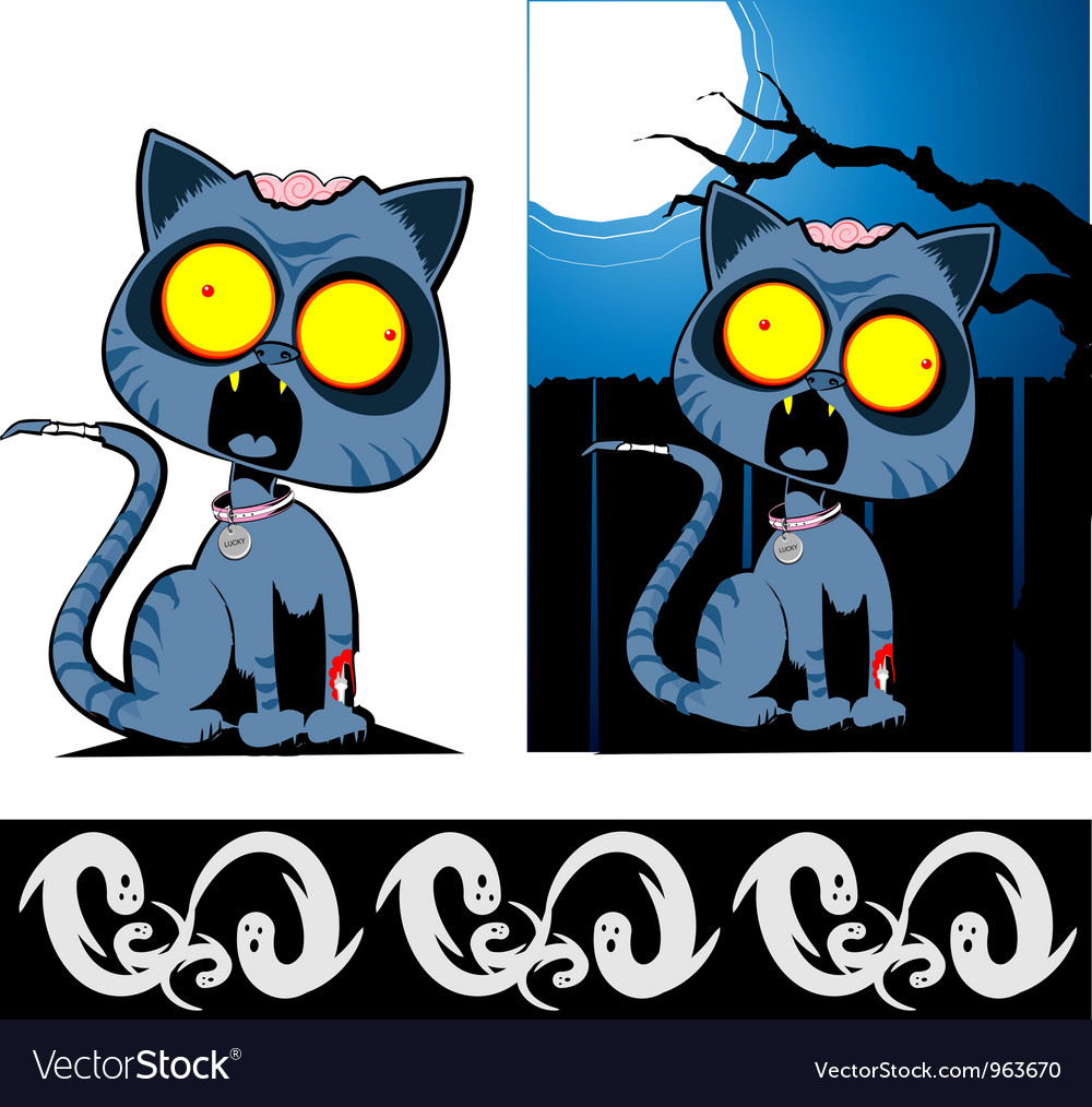 Zom cat with boo border vector | Price: 3 Credit (USD $3)