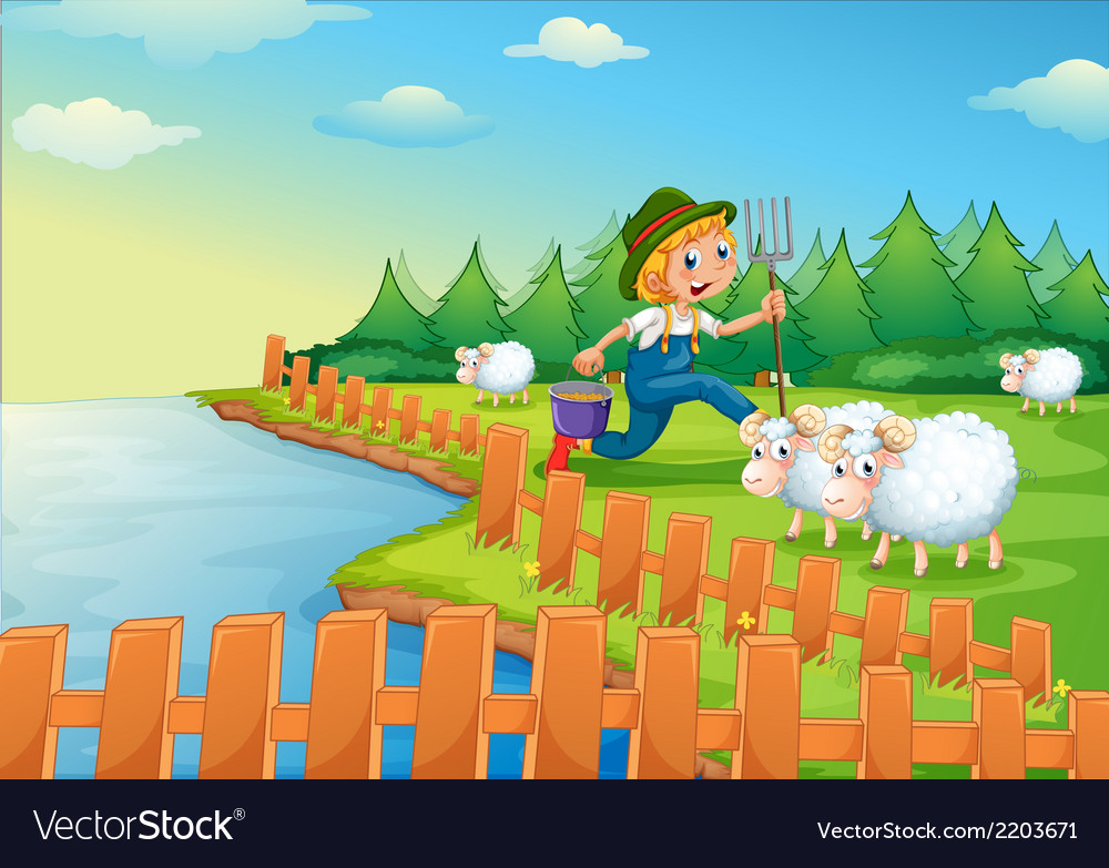 A boy feeding the sheeps vector | Price: 3 Credit (USD $3)