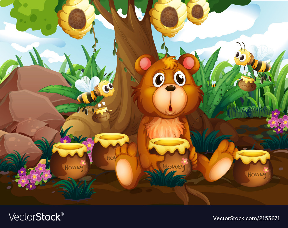 A cute bear under the tree with bees and pots of vector | Price: 3 Credit (USD $3)