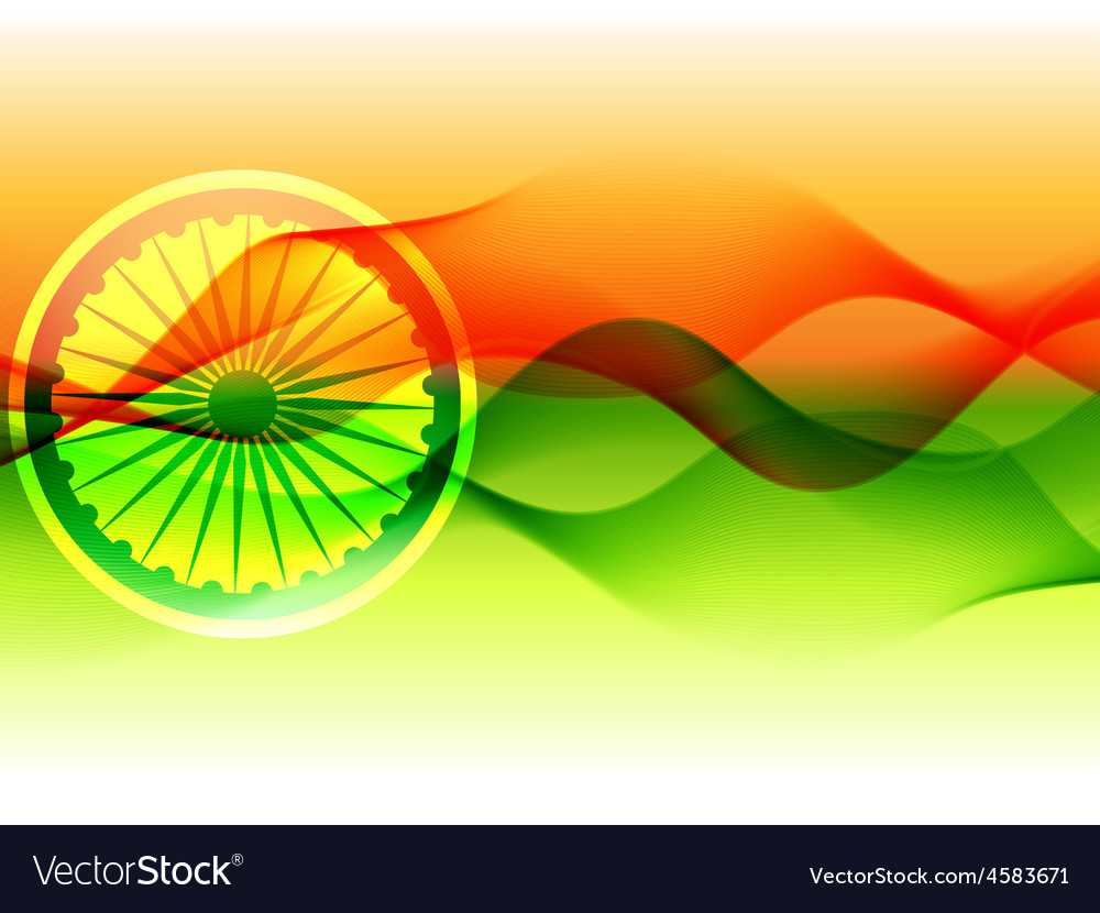 Flag of india with wave flowing vector | Price: 1 Credit (USD $1)